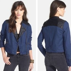FREE PEOPLE Leather trim blue moto jacket sz10
